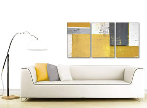 Contemporary Mustard Yellow Grey Abstract Painting Canvas Wall Art Print Split 3 Piece 125cm Wide 3340 For Your Kitchen