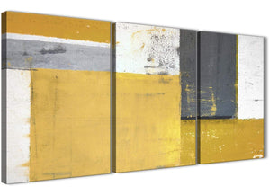 Oversized Mustard Yellow Grey Abstract Painting Canvas Wall Art Print Split 3 Piece 125cm Wide 3340 For Your Kitchen