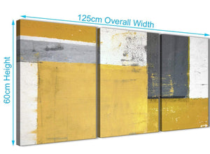 Panoramic Mustard Yellow Grey Abstract Painting Canvas Wall Art Print Split 3 Piece 125cm Wide 3340 For Your Kitchen