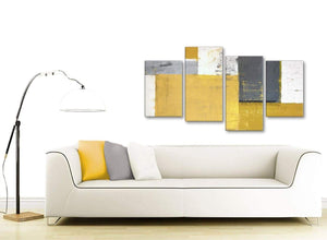 Contemporary Large Mustard Yellow Grey Abstract Painting Canvas Wall Art Print Split 4 Set 130cm Wide 4340 For Your Living Room