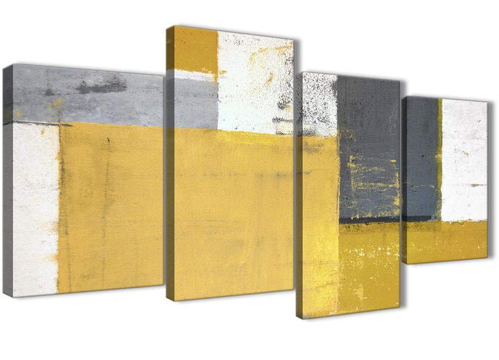 Oversized Large Mustard Yellow Grey Abstract Painting Canvas Wall Art Print Split 4 Set 130cm Wide 4340 For Your Kitchen