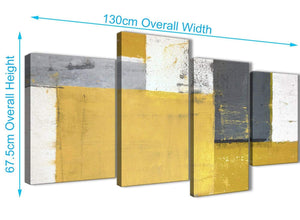 Panoramic Large Mustard Yellow Grey Abstract Painting Canvas Wall Art Print Split 4 Set 130cm Wide 4340 For Your Dining Room