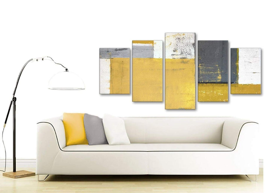 Contemporary Extra Large Mustard Yellow Grey Abstract Painting Canvas Wall Art Print Split 5 Part 160cm Wide 5340 For Your Living Room