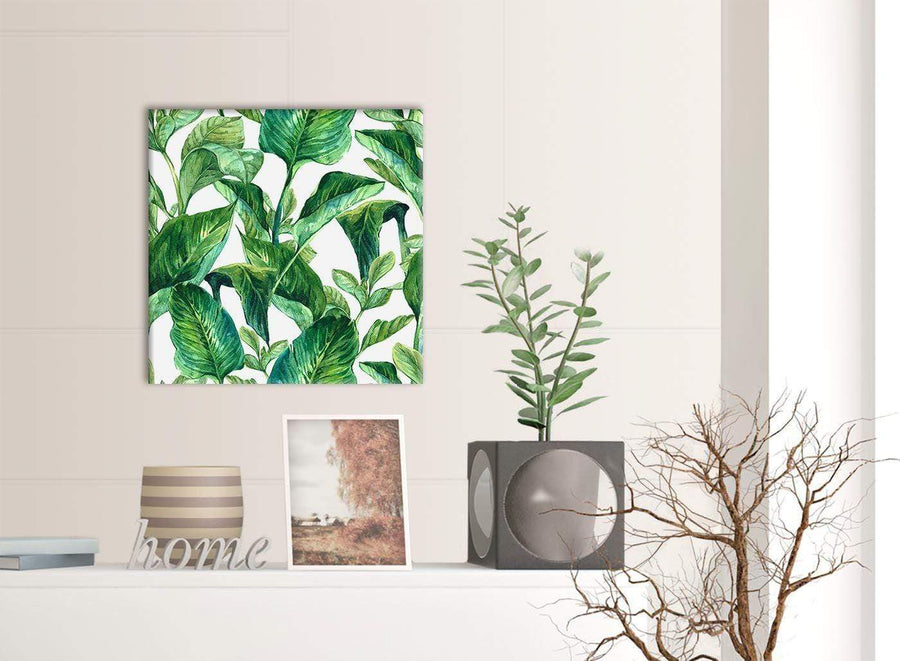 Green Palm Tropical Banana Leaves Canvas Wall Art Print - Modern 49cm Square - 1s324s