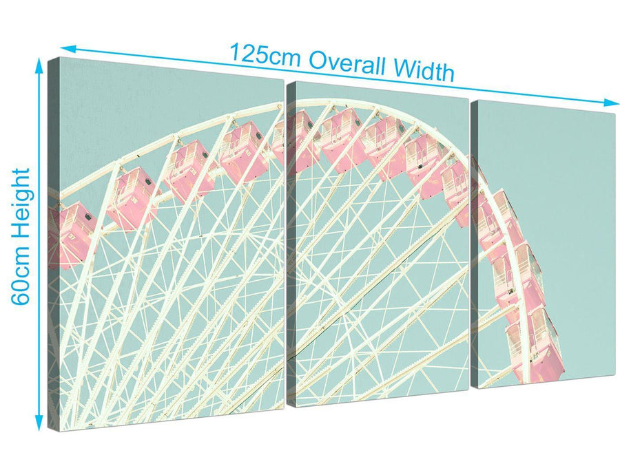 panoramic shabby chic duck egg blue pink ferris wheel lifestyle canvas multi 3 piece 3282 for your teenage girls bedroom