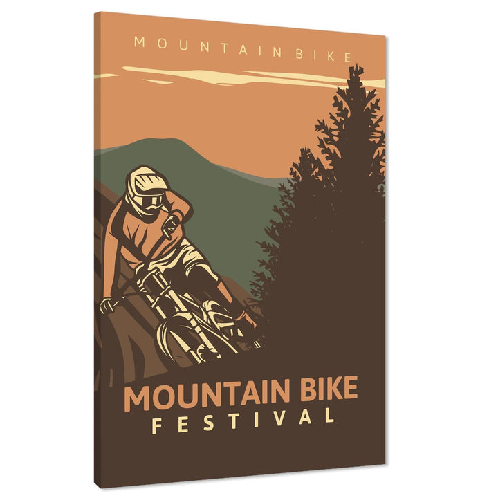 Mountain Bike Canvas Wall Art Print Orange Brown