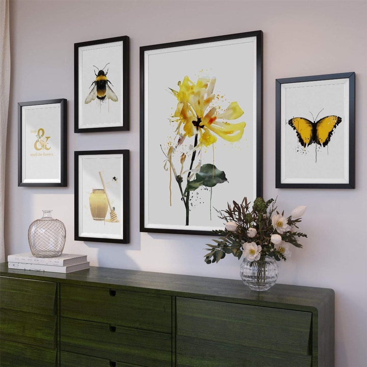 Yellow Black Spring Flower and Honey Floral Framed Gallery Wall Art Prints