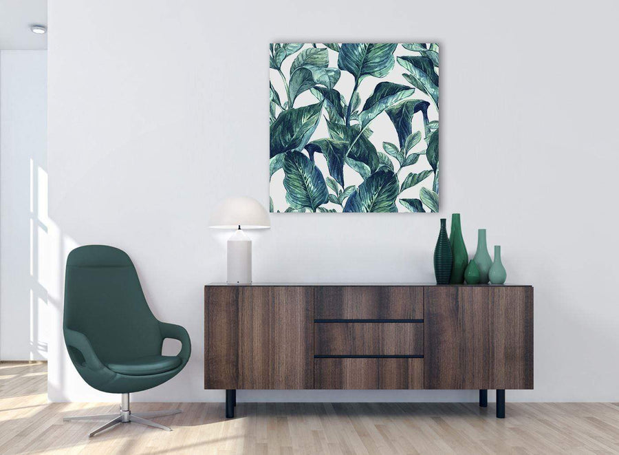 Cheap Teal Blue Green Tropical Exotic Leaves Canvas Modern 79cm Square 1S325L For Your Bedroom