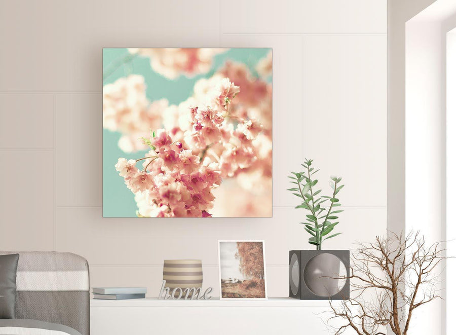 contemporary japanese cherry blossom shabby chic pink blue floral canvas modern 79cm square 1s288l for your study