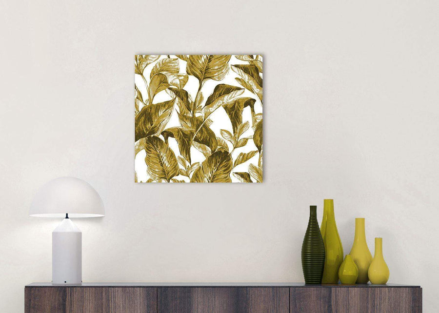 Cheap Mustard Yellow White Tropical Leaves Canvas Modern 49cm Square 1S318S For Your Bedroom