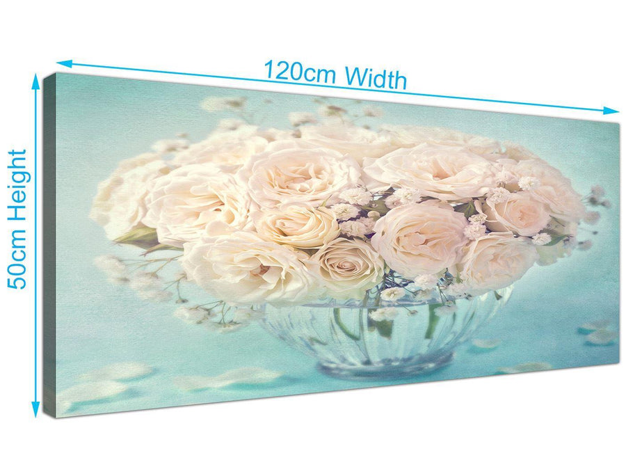 panoramic duck egg blue and white roses flowers floral canvas modern 120cm wide 1286 for your dining room