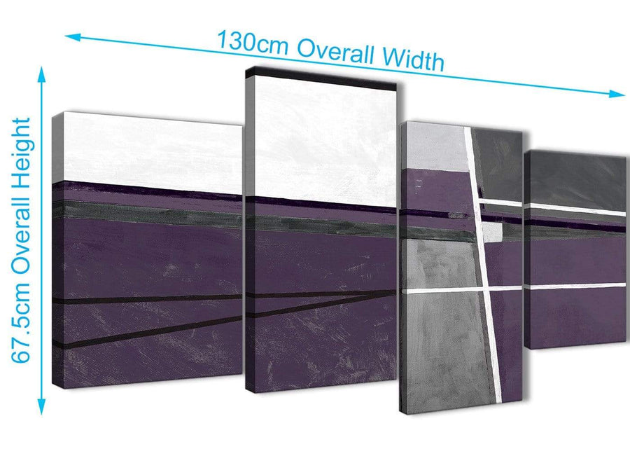 4 Piece Large Aubergine Grey Painting Abstract Bedroom Canvas Pictures Decor - 4392 - 130cm Set of Prints