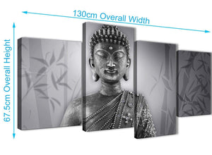 4 Piece Large Black White Buddha Living Room Canvas Pictures Decor - 4373 - 130cm Set of Prints