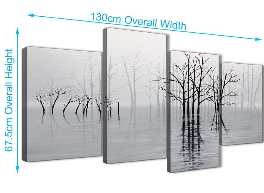4 Piece Large Black White Grey Tree Landscape Painting Living Room Canvas Pictures Decor - 4416 - 130cm Set of Prints