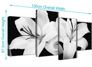 4 Piece Large Black White Lily Flower Bedroom Canvas Wall Art Decor - 4458 - 130cm Set of Prints