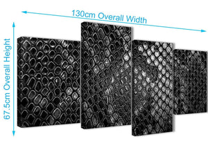 4 Piece Large Black White Snakeskin Animal Print Abstract Bedroom Canvas Pictures Decor - 4510 - 130cm Set of Prints