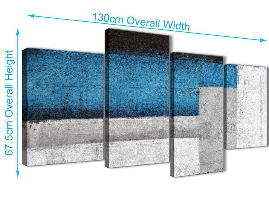 4 Piece Large Blue Grey Painting Abstract Living Room Canvas Pictures Decor - 4423 - 130cm Set of Prints