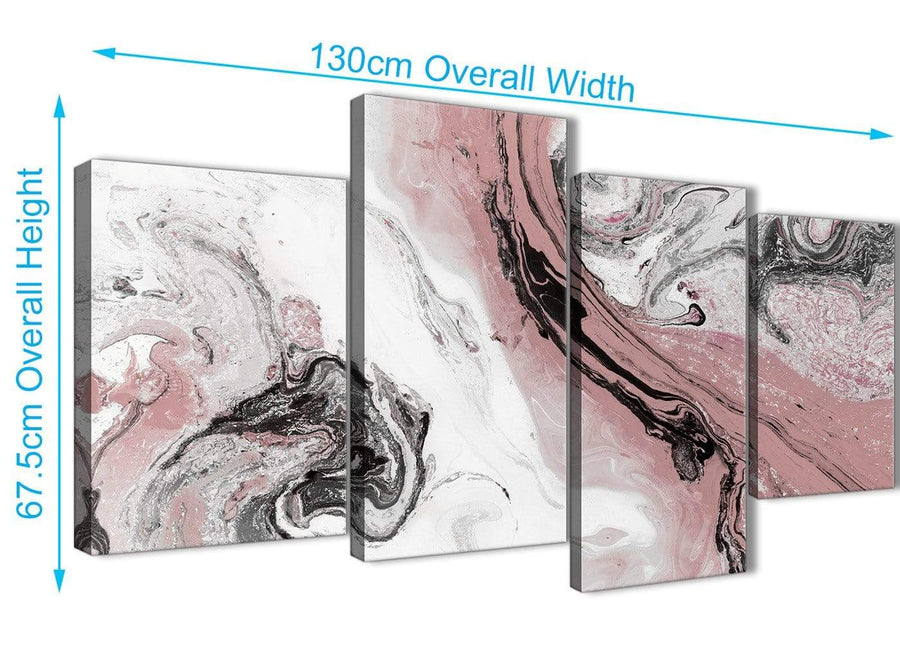 4 Piece Large Blush Pink and Grey Swirl Abstract Living Room Canvas Wall Art Decor - 4463 - 130cm Set of Prints