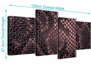 4 Piece Large Blush Pink Snakeskin Animal Print Abstract Bedroom Canvas Wall Art Decor - 4473 - 130cm Set of Prints