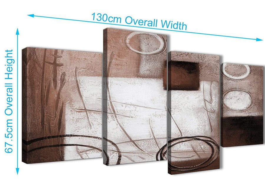 4 Piece Large Brown White Painting Abstract Bedroom Canvas Pictures Decor - 4422 - 130cm Set of Prints