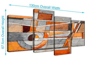 4 Piece Large Burnt Orange Grey Painting Abstract Bedroom Canvas Pictures Decor - 4405 - 130cm Set of Prints