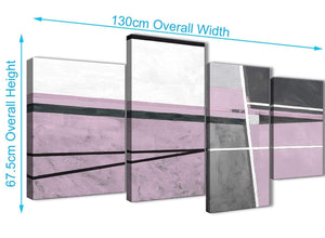 4 Piece Large Lilac Grey Painting Abstract Bedroom Canvas Pictures Decor - 4395 - 130cm Set of Prints