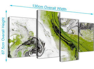 4 Piece Large Lime Green and Grey Swirl Abstract Bedroom Canvas Wall Art Decor - 4464 - 130cm Set of Prints