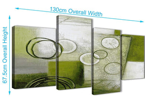 4 Piece Large Lime Green Painting Abstract Bedroom Canvas Pictures Decor - 4434 - 130cm Set of Prints