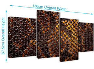 4 Piece Large Mustard Gold Snakeskin Animal Print Abstract Living Room Canvas Wall Art Decor - 4474 - 130cm Set of Prints