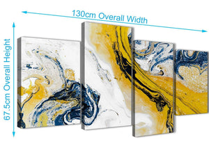 4 Piece Large Mustard Yellow and Blue Swirl Abstract Bedroom Canvas Pictures Decor - 4469 - 130cm Set of Prints