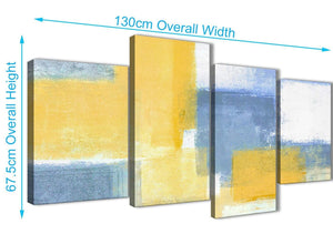 4 Piece Large Mustard Yellow Blue Abstract Living Room Canvas Pictures Decor - 4371 - 130cm Set of Prints