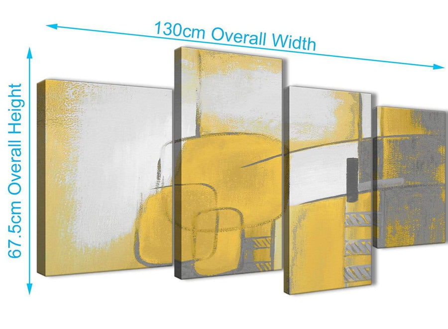 4 Piece Large Mustard Yellow Grey Painting Abstract Bedroom Canvas Wall Art Decor - 4419 - 130cm Set of Prints