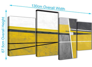 4 Piece Large Mustard Yellow Grey Painting Abstract Living Room Canvas Wall Art Decor - 4388 - 130cm Set of Prints