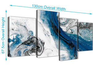4 Piece Large Blue and Grey Swirl Abstract Bedroom Canvas Pictures Decor - 4465 - 130cm Set of Prints