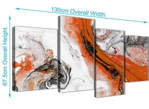 4 Piece Large Orange and Grey Swirl Abstract Bedroom Canvas Pictures Decor - 4461 - 130cm Set of Prints