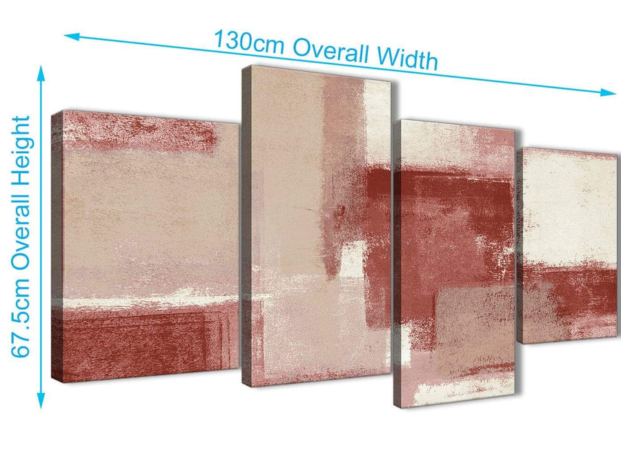 4 Piece Large Red and Cream Abstract Bedroom Canvas Pictures Decor - 4370 - 130cm Set of Prints