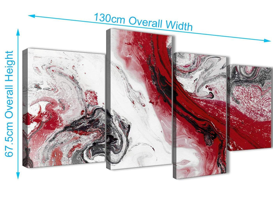4 Piece Large Red and Grey Swirl Abstract Bedroom Canvas Pictures Decor - 4467 - 130cm Set of Prints