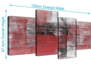4 Piece Large Red Black White Painting Abstract Living Room Canvas Pictures Decor - 4397 - 130cm Set of Prints