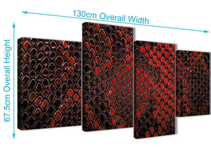 4 Piece Large Red Snakeskin Animal Print Abstract Living Room Canvas Pictures Decor - 4476 - 130cm Set of Prints