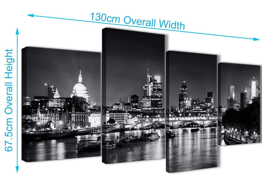 4 Piece Large River Thames Skyline of London Canvas Art Prints - Landscape - 4430 Black White Grey - 130cm Set of Pictures