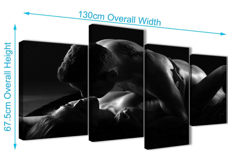 4 Piece Large Romantic Nude Couple Erotica Canvas Wall Art - 4444 Black White - 130cm Set of Pictures
