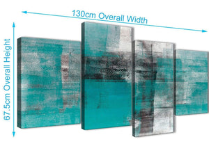 4 Piece Large Teal Black White Painting Abstract Living Room Canvas Pictures Decor - 4399 - 130cm Set of Prints