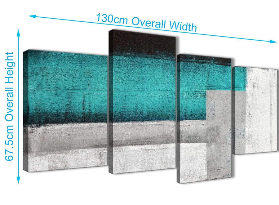 4 Piece Large Teal Turquoise Grey Painting Abstract Bedroom Canvas Pictures Decor - 4429 - 130cm Set of Prints