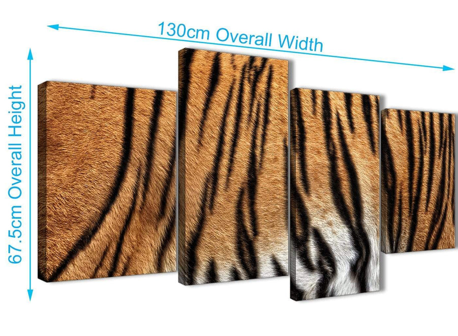4 Piece Large Tiger Animal Print Canvas Wall Art - 4472 - 130cm Set of Pictures