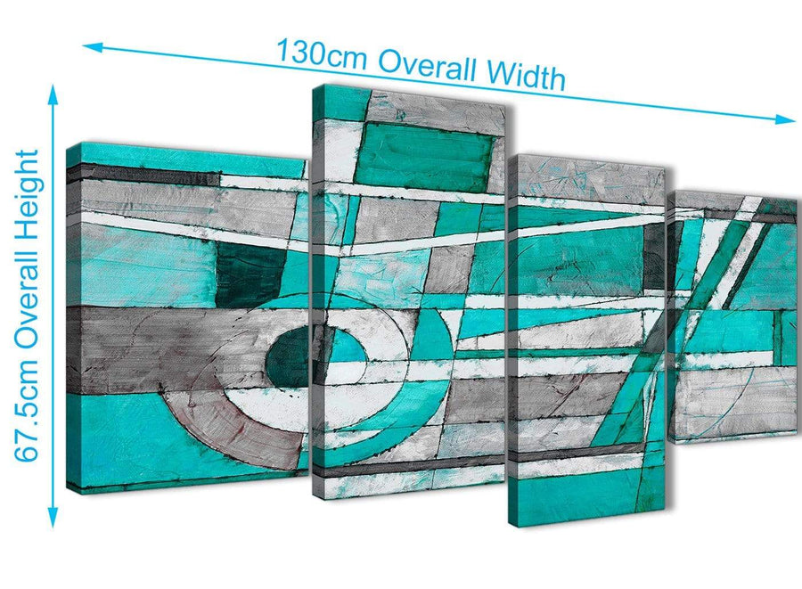 4 Piece Large Turquoise Grey Painting Abstract Bedroom Canvas Wall Art Decor - 4403 - 130cm Set of Prints