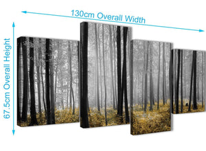 4 Piece Large Yellow and Grey Forest Woodland Trees Bedroom Canvas Pictures Decor - 4384 - 130cm Set of Prints