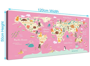 Panoramic Pink Animal Map Of World Atlas Animals Canvas Modern 120cm Wide 1316 For Your Girls Bedroom