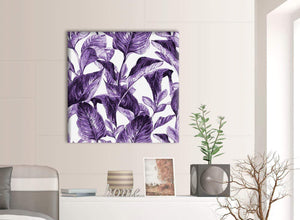 Contemporary Dark Purple White Tropical Exotic Leaves Canvas Modern 79cm Square 1S322L For Your Dining Room
