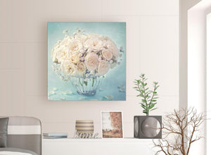 contemporary duck egg blue and white roses flowers floral canvas modern 79cm square 1s286l for your living room
