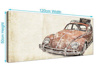 panoramic vw beetle bug rat look surfer brown volkswagen lifestyle canvas modern 120cm wide 1279 for your bedroom
